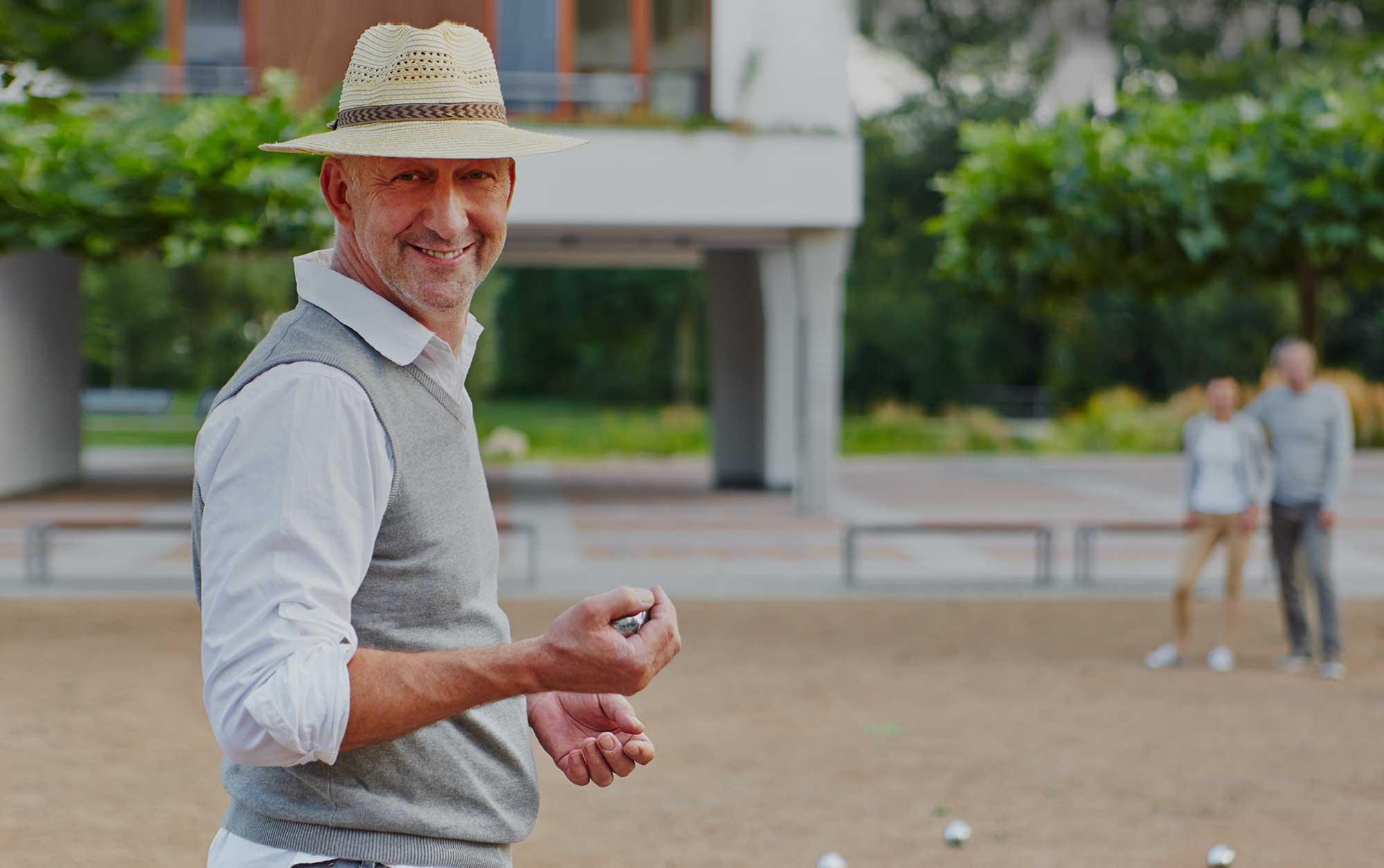 Man playing bocce ball